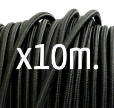10m. BLACK 3 core cord for vintage style lights textile fabric electrical