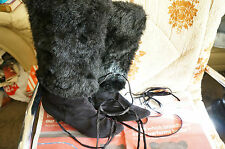SUEDE BOOTS WITH FUR,LEATHER TIES,SIZE 5 UK,BLACK,PERFECT FOR WINTER