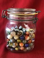 VINTAGE England JAR - BAIL TOP W/LOTS OF MARBLES SHOOTERS, Qty (190)#4