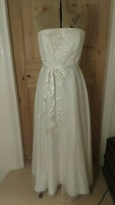 M&S Autograph Strapless Wedding / Bridesmaid Dress Size 14 Cream