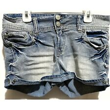 Jean Shorts Size 11 NO BOUNDARIES Embroidered Zippered Pockets Distressed