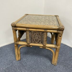 Vintage Retro Rattan Cane Wicker Bamboo Glass Top Side Table Boho
