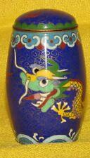 PETIT POT COUVERT en CLOISONNE BLEU à decor de DRAGON /  CHINE