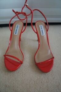 Steve Madden Patent red strappy Sandals sz US8 UK 6 EU 39