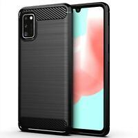 For Samsung Galaxy A41, Slim Armour Carbon Fibre Phone Case Cover + Screen Guard