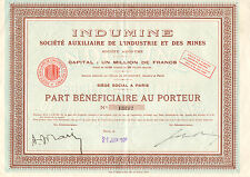 Indumine Soc. Auxiliaire de l`Industrie et des Mines SA, preferente, Paris, 1926