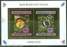 CHAD  2013  BUTTERFLIES GOLD FOIL SHEETLET OF TWO   MINT NH AS SHOWN