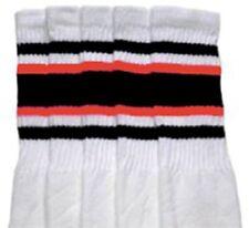 "19"" MID CALF WHITE tube socks with BLACK/ORANGE stripes style 4 (19-80)"
