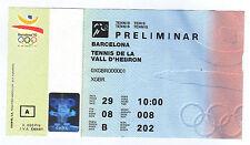 Billete Orig. Juegos Olímpicos Barcelona 1992-tenis!!!!!! muy Raro