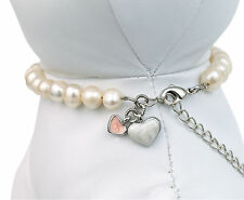 White Pearl Pet Dog Necklace, Jewellery, Gift - Small - 20-27.5cm