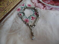 ANTIQUE FRENCH SILVER VINTAGE WATCH CHAIN DOG CLIP BRACELET WITH OLD BALL CHARM
