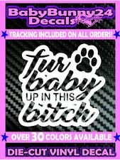 Fur Baby up in this bitch on Board Pet Dog Paw Rescue Vinyl Decal Sticker Car