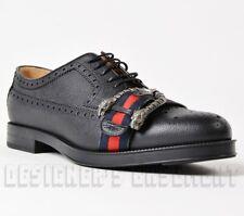 GUCCI 9.5 black Brogue WEB strap DIONYSUS buckle Oxford shoes NIB Authentic $940