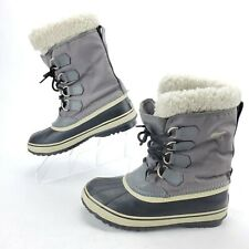 SOREL Women's Winter Carnival Snow Boot Size 8.5 Faux Fur Waterproof Gray EUC