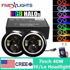 "2X 7"" 40W CREE LED Headlights With Bluetooth RGB-Color Halo For Jeep Wrangler JK"
