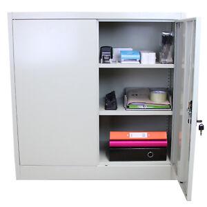 Metal Office 2 Doors Filing Cabinet Flatpack Document File Lockable Storage 90cm
