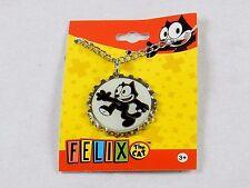 Felix The Cat Necklace, Silver Tone Bottle Cap Pendant ~ Felix Waving, #YNC1157