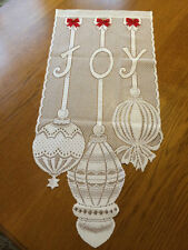 Heritage Lace White Christmas Red Bow Joy with Ornaments Wall Hanging (149)
