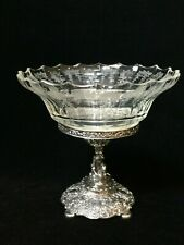 """Antique 800 Silver Germany Centerpiece with Glass Bowl, 7 1/4"""" Tall, 7 3/4"""" Wide"""