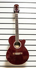 More details for chase sw206cetr electro acoustic guitar small body folk cutaway red burgundy z0