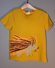 MINI BODEN Boys 4 5 Mustard Gold Short Sleeve Hedgehog Porcupine Shirt Top Tee