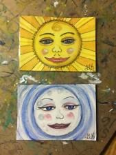 2 Original ACEO Art Miniature Acrylic Paintings - Sun & Moon