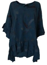 Italian Lagan look festival very baggy linen blue frill sleeve top plus size