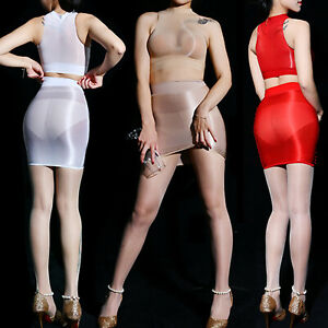 See Through Women Lingerie Suit Mesh Sheer Crop Tops with Bodycon Miniskirt Sexy