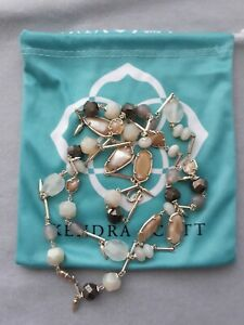 """Kendra Scott Joann Long Station Necklace Gold Plated with Brown Tone Beads 34"""""""