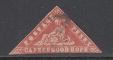 Cape of Good Hope SG 13, Sc 7 used.1861 1p vermilion Wood Block, tiny thin CERT