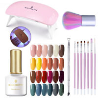 UV Nail Kit Nail Gel Polish Lot 6W LED Lamp Topbase Coat  BORN PRETTY