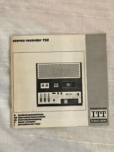ITT Schaub Lorenz stereo recorder 730 original Bedienungsanleitung 46 Seiten