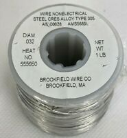 Wire Nonelectrical Steel Cres Alloy Type 305 1LB Roll Diam .032 New Free Shippin