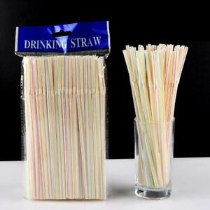100pc Plastic Drinking Straws 8 Inches Long Multi-Colored Bedable Striped New