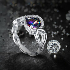 Heart Cut Rainbow & White Topaz Gemstone 14K White Gold Plated Ring Size 9 Women