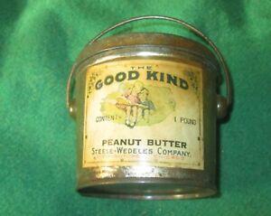 "Vintage 1 Lb. Peanut Butter Tin & Lid, ""The Good Kind"" Label, Very Old & Nice"