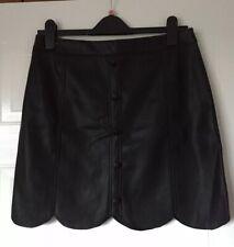 River Island Black Faux Leather Scallop Edge Mini Skirt Size 12