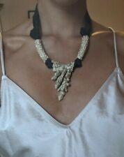 & Other Stories Gold Coral Necklace With Black Ribbon