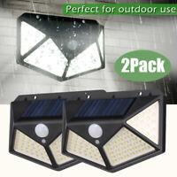 4PCS 100LED Solar Power Light PIR Motion Sensor Security Outdoor Garden Lamps US