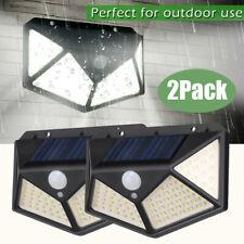 2x 100 LED Solar Power Light PIR Motion Sensor Security Outdoor Garden Wall Lamp