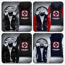 HOT Captain America Zipper Thicken Hoodie Unisex Jacket Winter WARM Coat