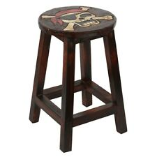 Hand Carved Dark Wood Pirate Skull Distressed Side Table Wooden Stool Lamp Stand