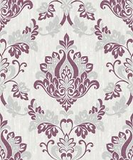 Vymura Senator Plum Wallpaper M1028 - Glitter Sparkle Damask Purple Grey Silver