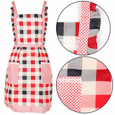 Red Checker Pinny Lined Vintage Pocket Fancy Kitchen Cooking Apron Chef Workwear