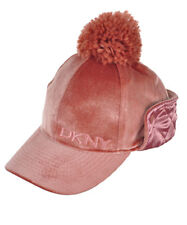 DKNY Velvet Skimmer Cap with Satin Ear Flap and Pom Blush Size 7-16 Girls NEW