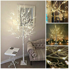 LUXURY 2/6ft LARGE LIGHTUP WHITE CHRISTMAS TWIG TREE BIRCH GLITTER SHABBYCHIC