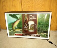 BLATZ beer 1960's FISHING RAINBOW TROUT 3-D lighted shadow box sign