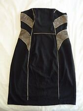City Chic Black Gold chain detail mesh S 16 strapless SHIFT DRESS