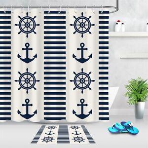Nautical Themed Anchor Rudder Bath Curtains Shower Curtain Set Bathroom Decor