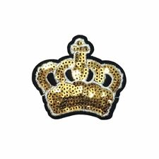 Gold Sequin Crown (Iron On) Embroidery Applique Patch Sew Iron Badge